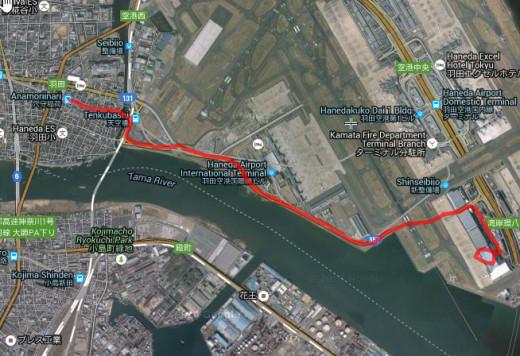 How to walk from Anamoriinari to ANA Airplane Maintenance Center Haneda Japan