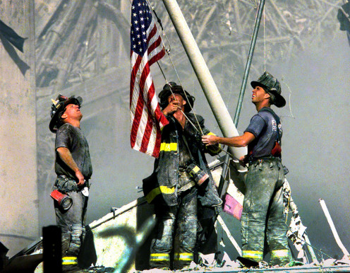 Our firefighters made sure to raise the flag after terrorist attack in New York City.
