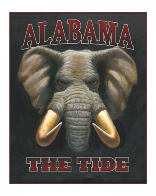 The elephant is the mascot for the University of Alabama Crimson Tide.