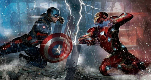Captain America fighting Tony Stark