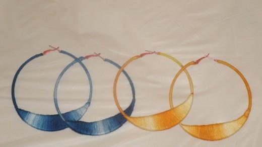 Half Moon Hoop Earrings with embroidery string