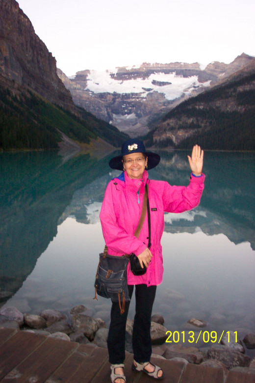 Kathleen in front of Lake Louise, AB on her move in 2013 to Victoria, BC, Canada