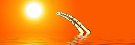 A thermometer bending in the hot sun