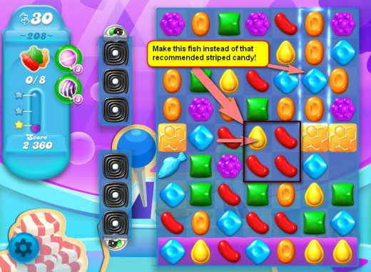 Making fish are more important than making striped candy in this level.