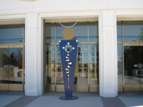 Statue at entrance of New Mexico State Capitol Building.
