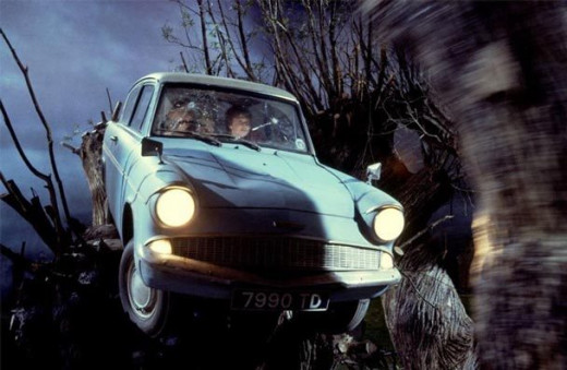 The book's famous Ford Anglia is also in the film...