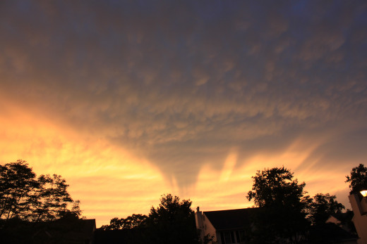Mammatus clouds at sunset in Milford, CT.
