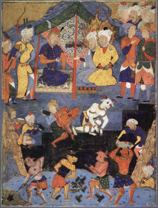 A Persian painting from the 16th century illustrating the building of the wall with the help of the Jinn.