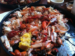 This is what a finished Seafood Platter looks like and let me tell you it is a lot of food so bring a big appetite.