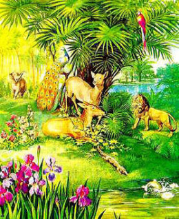 In the Bible creation, it says that God created all sorts of vegetation and animals and then created man, they were all living happily in the garden of Eden, until Eva disobeyed God
