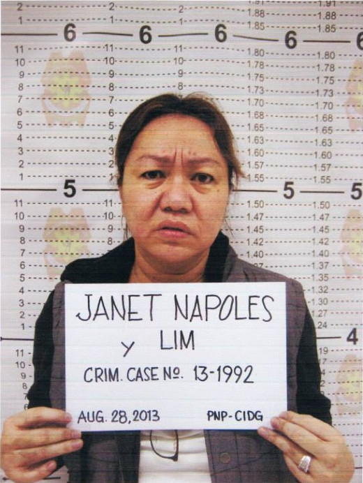 The Mug shot of Janet Lim-Napoles accused as the master mind of the PDAF scam in the Philippines.