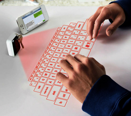 THE TINY DEVICE PROJECTS A KEYBOARD ON YOUR DESK, ELIMINATING  THUMB CRAMPS CAUSED BY TEXTING WITH A SMARTPHONE.