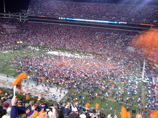 The Auburn fans stormed the field after the 2013 Iron Bowl victory. The game was decided in the last second by an unlikely field-goal-attempt return for a touchdown by Auburn's Chris Davis.
