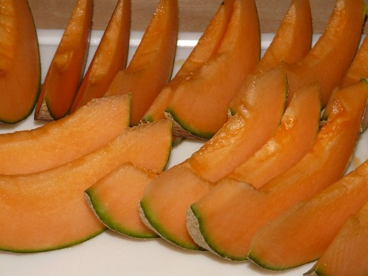 A thin slice of cantaloupe is makes a great snack and is low in fat and calories.