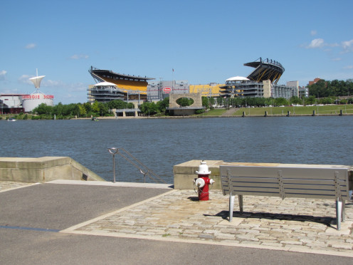 View of Heinz Filed from Point State Park across the Allegheny River.
