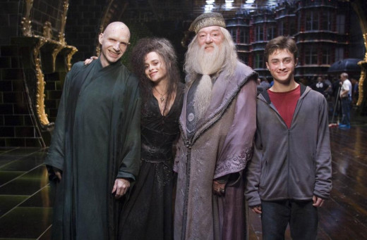 (left-right) Fiennes, Carter, Gambon and Radcliffe backstage. They won't be smiling for long...