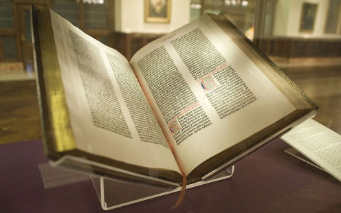 The Gutenbberg Bible is the first known printed compilation of the Jewish and Christian common core of beliefs.