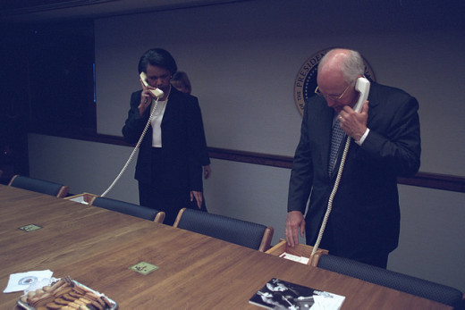 Condoleezza Rice and Dick Cheney both talk on the phone in the busy aftermath of 9/11.