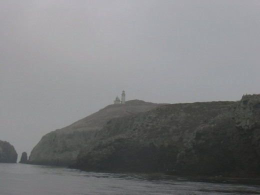 Mystical distant view of lighthouse