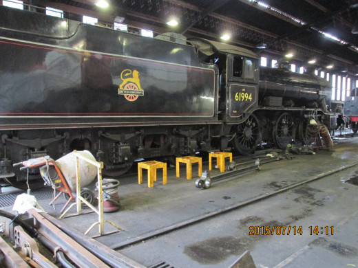 Saved from the cutter's torch in the 1960's by Viscount Garnock, LNER K4 2-6-0 'The Great Marquess' undergoes overhaul in Deviation Shed at Grosmont. Livery now is BR mixed traffic black, early 'cycling lion' emblem, No. 61994 under different owners