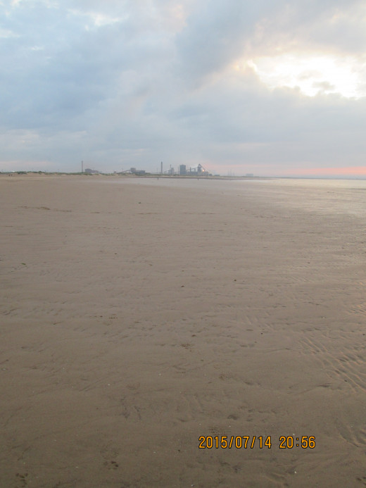 Back to Redcar beach again. This is looking toward the declining Warrenby Steel Works in the lee of the South Gare (the long breakwater that guards the Tees mouth, opposite the North Gare on the County Durham bank)