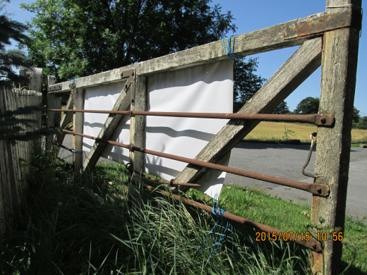 A pair of heavy wooden gates guards the goods depot yard - now the entrance to the caravan park. Steel bars were mounted on the backs of the gates to deter adventurous youngsters from exploring. The yard would have been guarded also against thieves.