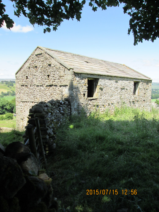The bridge leads to a footpath alongside the waterfall pool in one direction, and to steps that lead up to sheep pasture where this barn affords shelter from wintry winds - Dales barns are different in appearance from those on the North York Moors