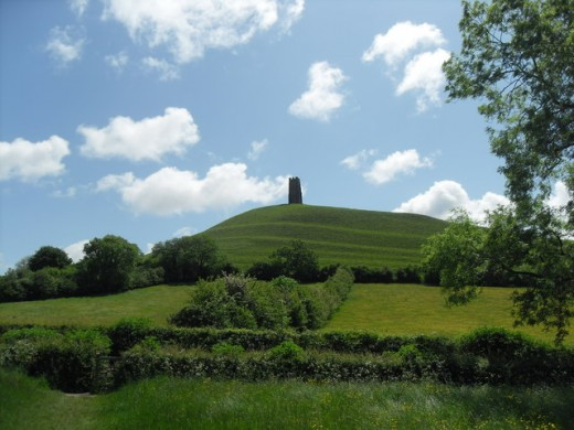 Glastonbury Tor, the supposed site of the Isle of Avalon as it looks today.