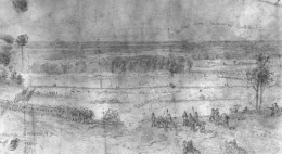 Wartime sketch of the Battle of Brawner Farm. By Edwin Forbes.