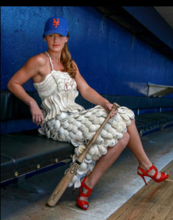 Have you seen that dress made out of nothing but 130 used baseball covers and guts?
