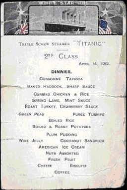 Titanic's second class menu featuring Plum Pudding.