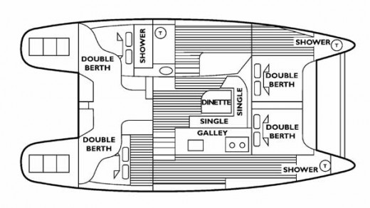 The spacious layout features 4 large cabins, three with ensuites and showers. The main cabin area and back cockpit are very spacious.