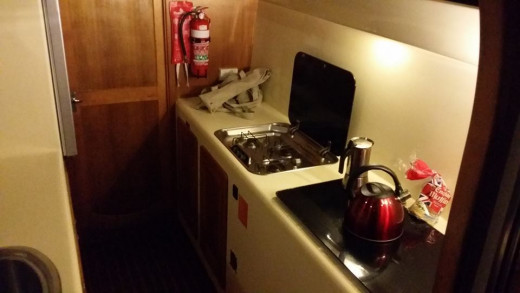 The kitchen area is very functional and suitable for preparing standard meals using full size pots and pans.