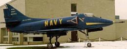 An A-4 Skyhawk on outdoor display in Staten Island, circa 1990.