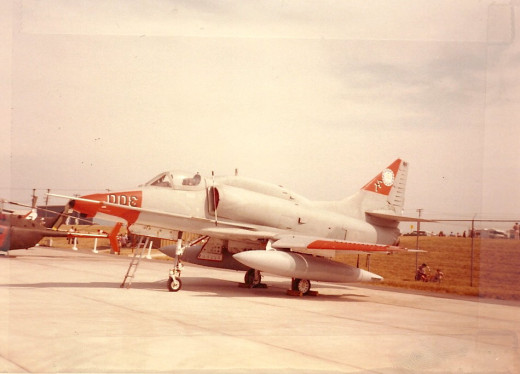 An A-4 on static display at an airshow circa 1983.