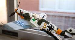 Model of the type of German fighter plane that could and did challenge the British Spitfire during the Battle of Britain.