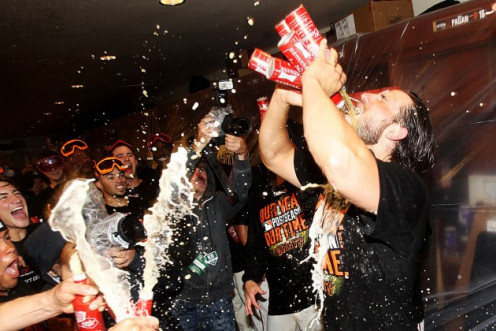 "Madison Bumgarner ""slugs"" five beers at once."