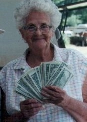 Here's my mom who loved going to yard sales. Wouldn't you love to save a bundle of cash like this? You can save 50% to 90% off store prices.