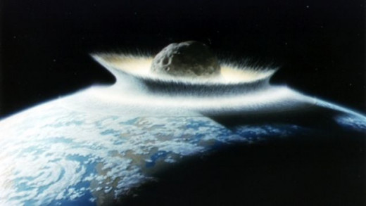 A meteor hitting the earth