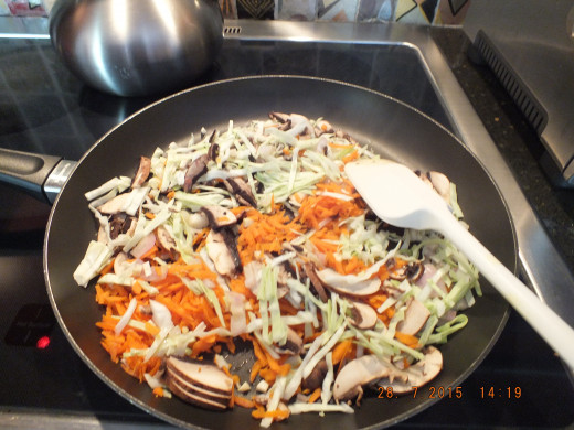 Saute all the vegetables for about 3 to 5 minutes.
