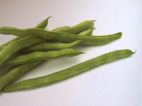 Fresh raw french beans in the supermarket