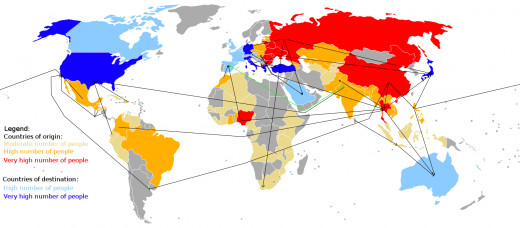 Human Trafficking by country and number of people being trafficked.