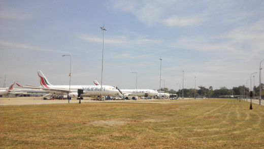 SriLankan Airlines' planes taxied at Colombo Airport