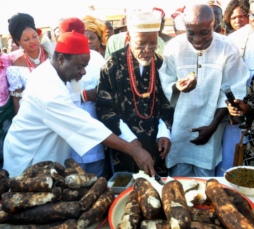 An Ibo traditional ruler performing a New Yam Festival rites