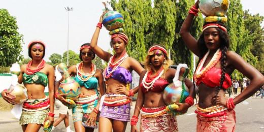 Maidens at famous Calabar Carnival