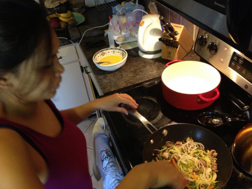 Cooking spiralized vegetables in a stir fry.