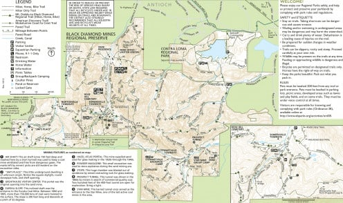 Black Diamond Mines Regional Preserve area map