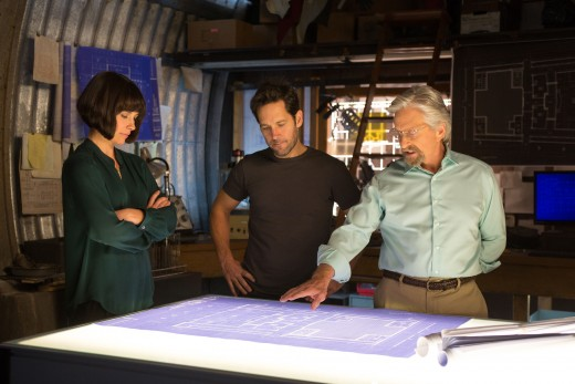 Evangeline Lilly, Paul Rudd, and Michael Douglas in Ant-Man