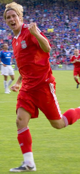 Torres celebrates scoring for Liverpool 2008