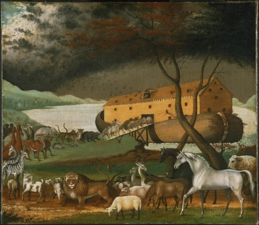 Noah's Ark is a popular subject for painters. This painting of Noah's Ark is by American folk artist Edward Hicks.